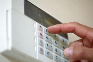 Alarm being set bu using code on the alarm panel